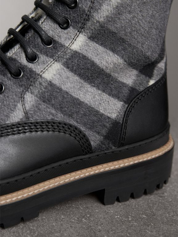 Shearling-lined Leather and Check Boots in Black - Men | Burberry Singapore - cell image 1