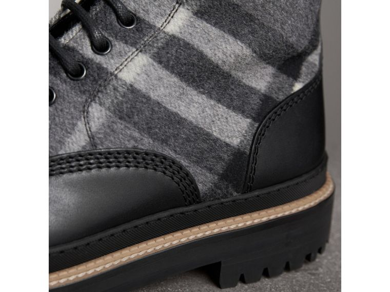 Shearling-lined Leather and Check Boots in Black - Men | Burberry United Kingdom - cell image 1