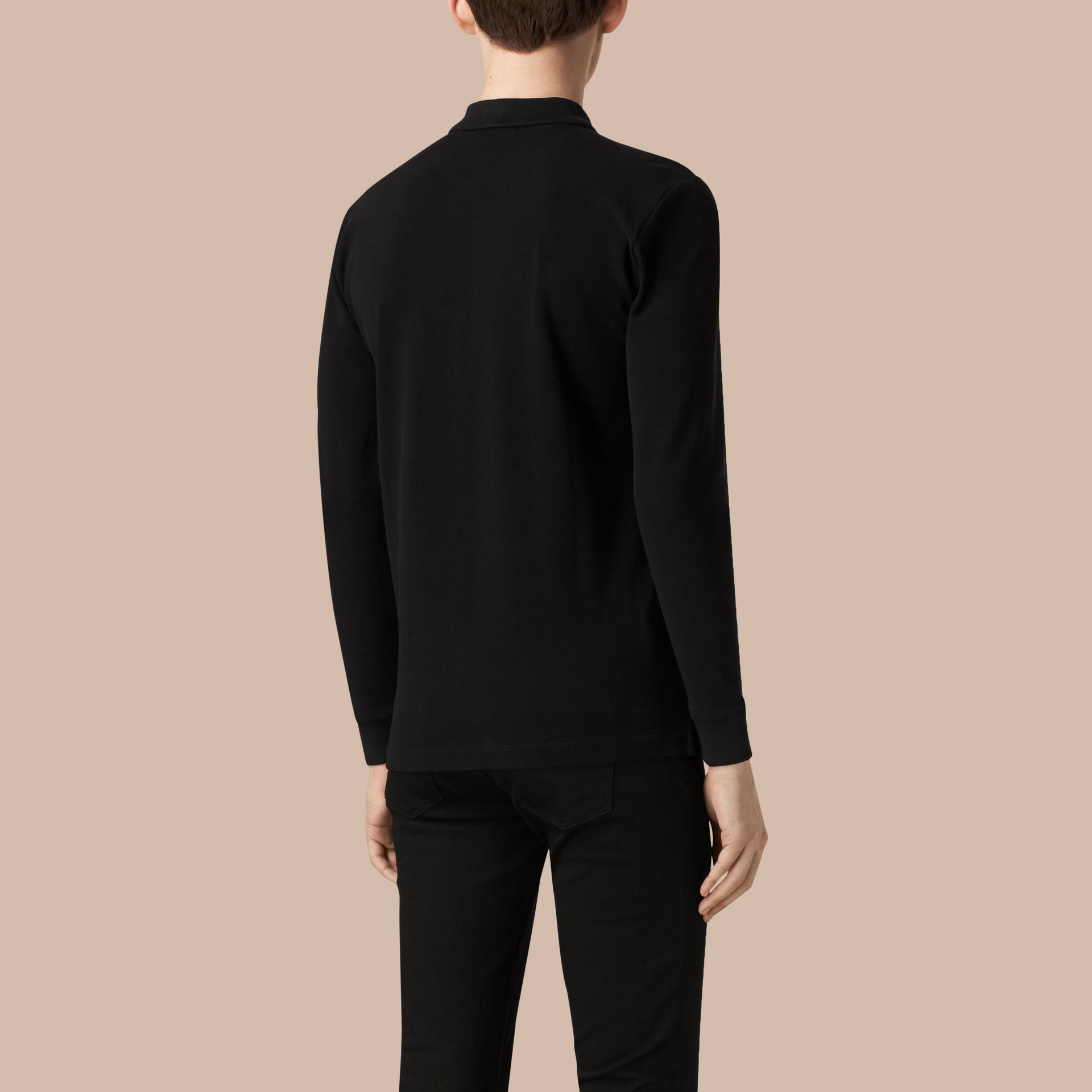 Check Placket Long Sleeve Polo Shirt in Black - gallery image 4