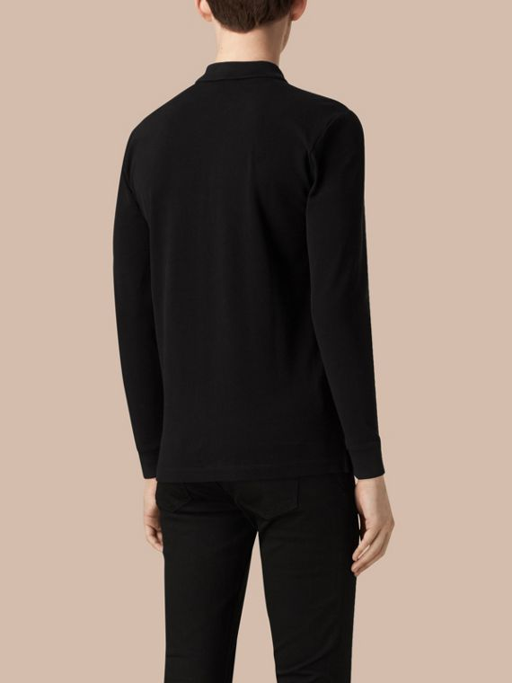 Black Check Placket Long Sleeve Polo Shirt Black - cell image 3