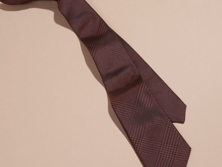 Deep claret Modern Cut Check Silk Tie Deep Claret - cell image 2