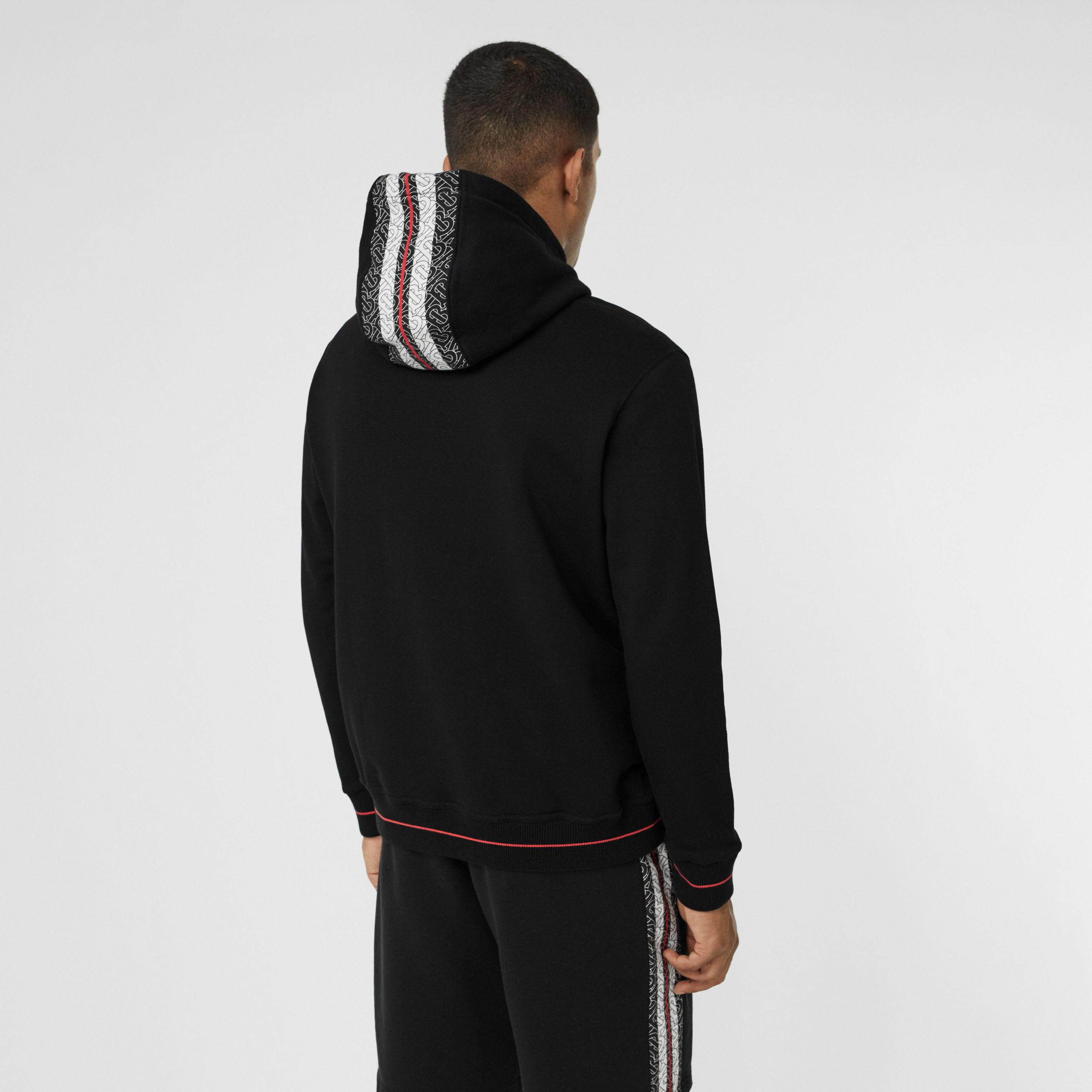 Monogram Stripe Panel Cotton Hoodie in Black - Men | Burberry - 3