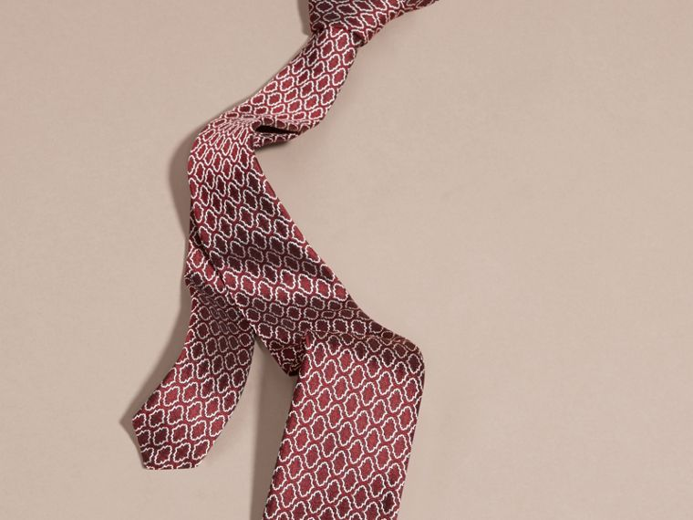 Parade red Slim Cut Geometric Jacquard Silk Tie Parade Red - cell image 2
