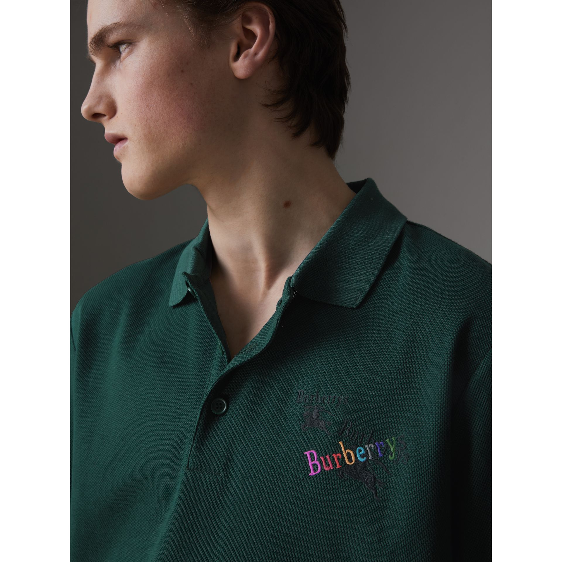 Triple Archive Logo Cotton Piqué Polo Shirt in Dark Forest Green - Men | Burberry Australia - gallery image 1