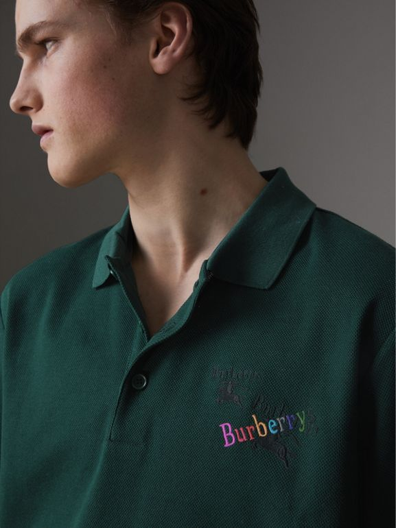 Triple Archive Logo Cotton Piqué Polo Shirt in Dark Forest Green - Men | Burberry Australia - cell image 1