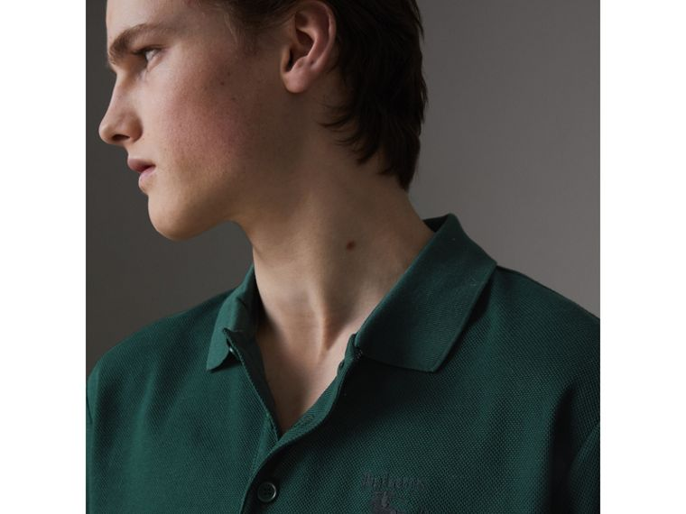 Triple Archive Logo Cotton Piqué Polo Shirt in Dark Forest Green - Men | Burberry United Kingdom - cell image 1