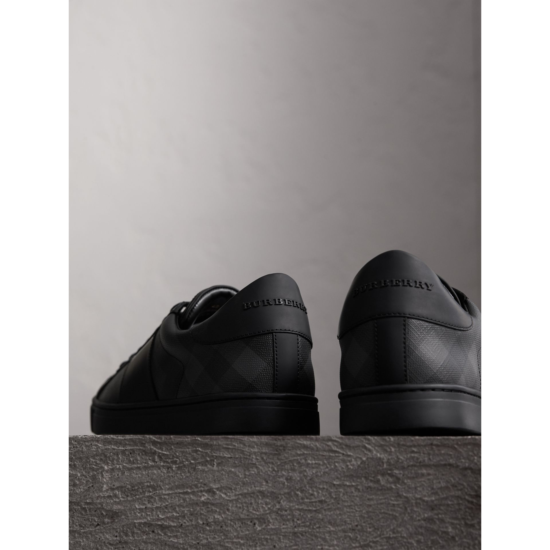 Check Detail Leather Trainers in Charcoal - Men | Burberry - gallery image 3