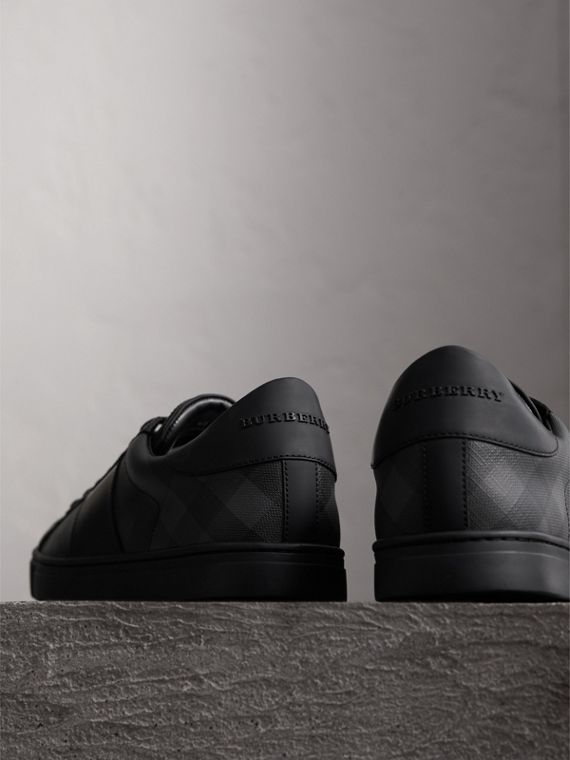 Check Detail Leather Trainers in Charcoal - Men | Burberry - cell image 3