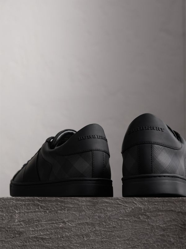 London Check and Leather Sneakers in Charcoal - Men | Burberry - cell image 3