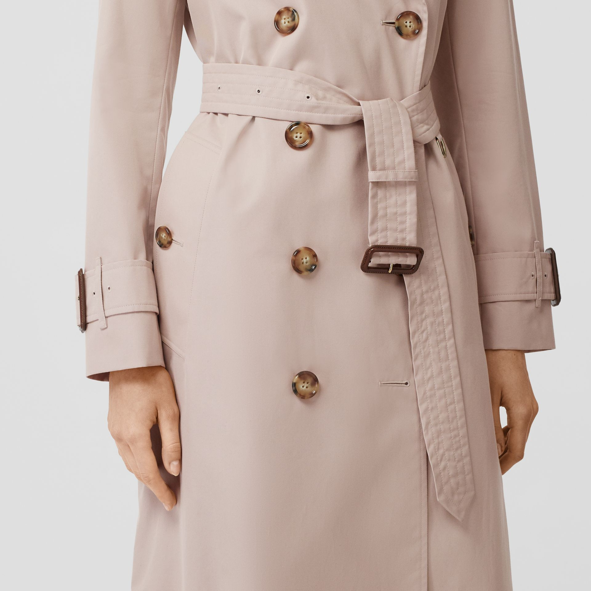 Cotton Gabardine Trench Coat in Pale Blush - Women | Burberry - gallery image 4