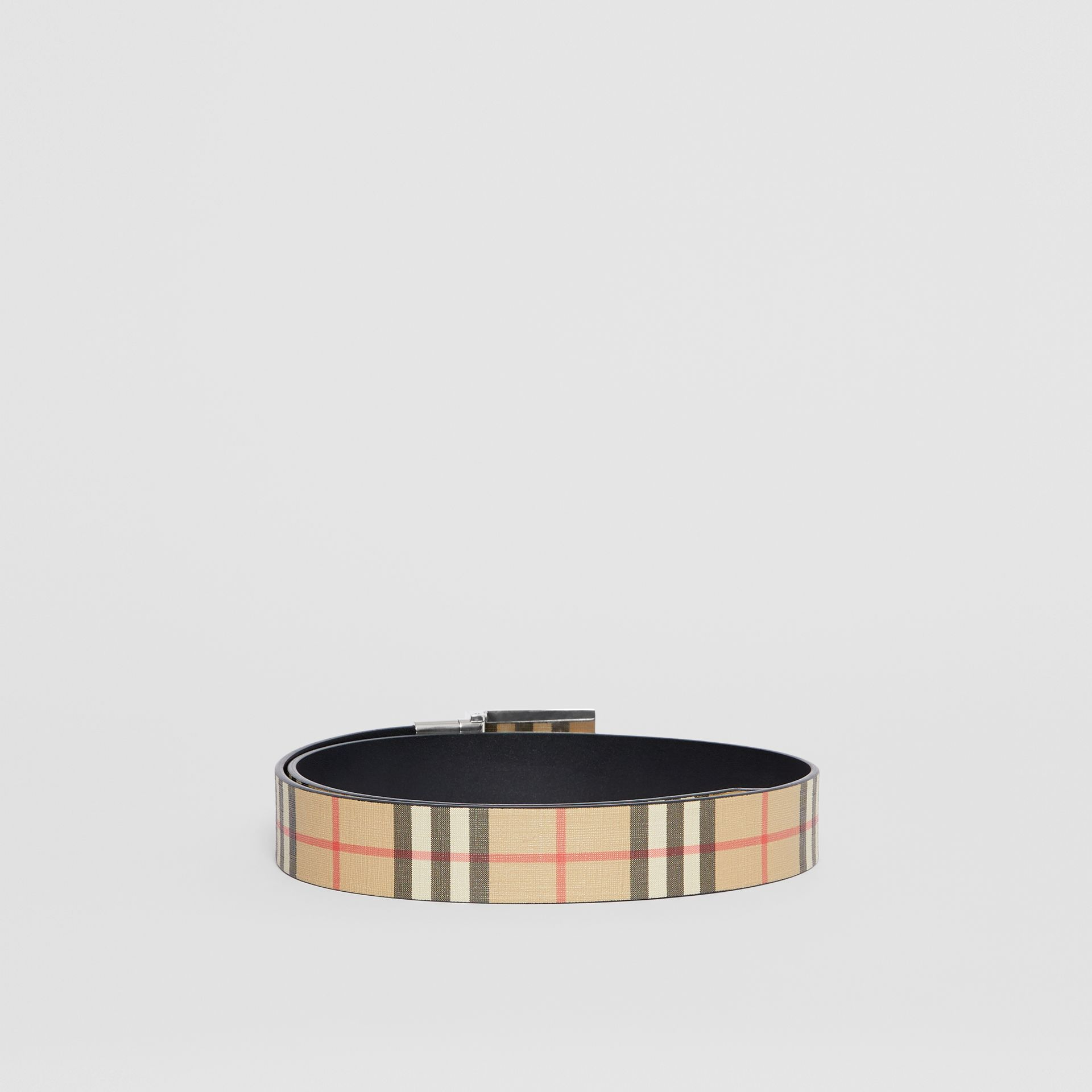 Reversible Plaque Buckle Vintage Check E-canvas Belt in Archive Beige - Men | Burberry Australia - gallery image 4