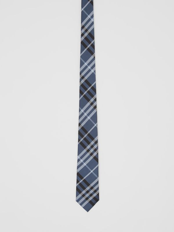 Classic Cut Vintage Check Silk Tie in Steel Blue - Men | Burberry - cell image 3