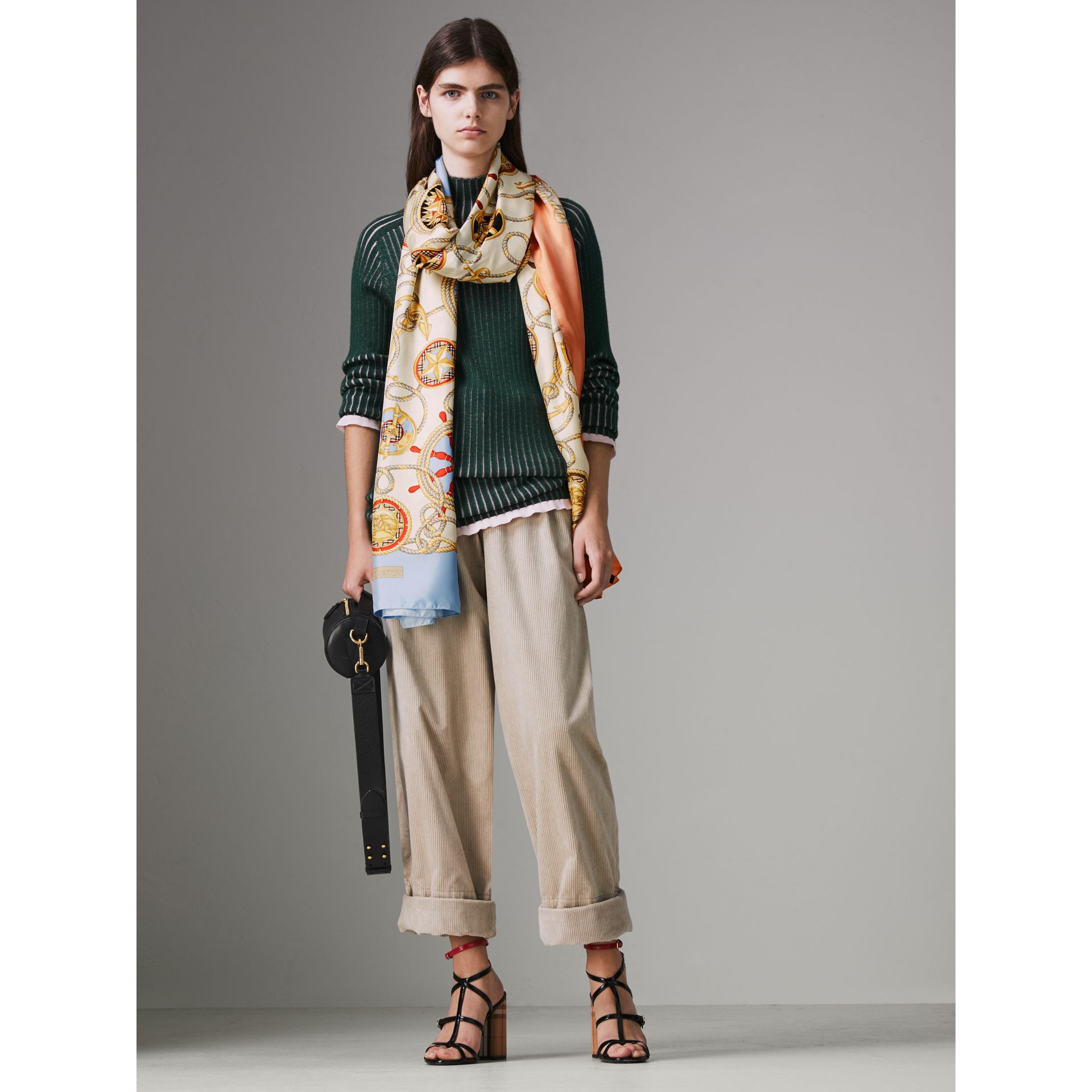 Archive Print Silk Scarf in Multicolour - Women | Burberry Canada - gallery image 2