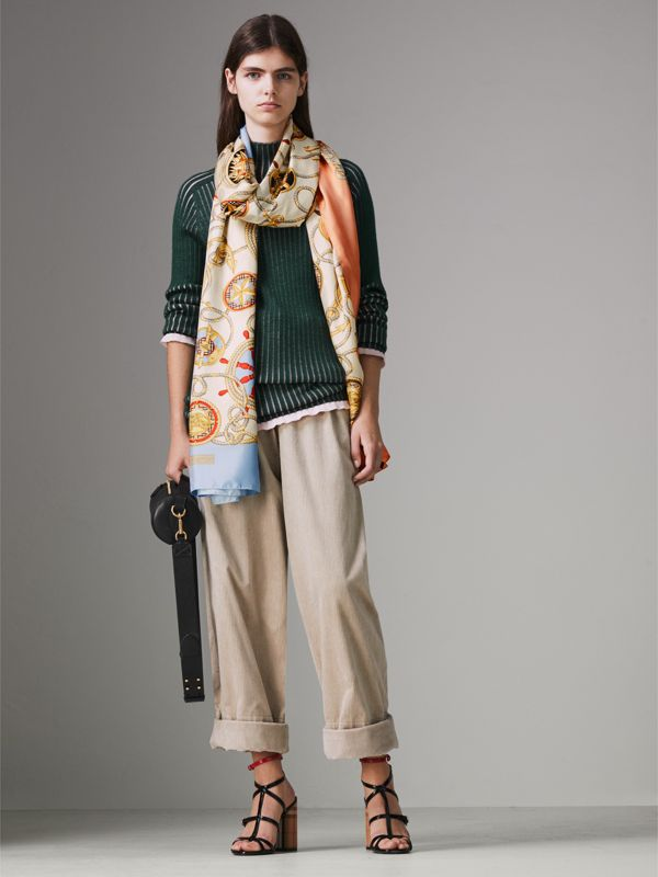 Archive Scarf Print Silk Oversized Scarf in Multicolour | Burberry - cell image 2