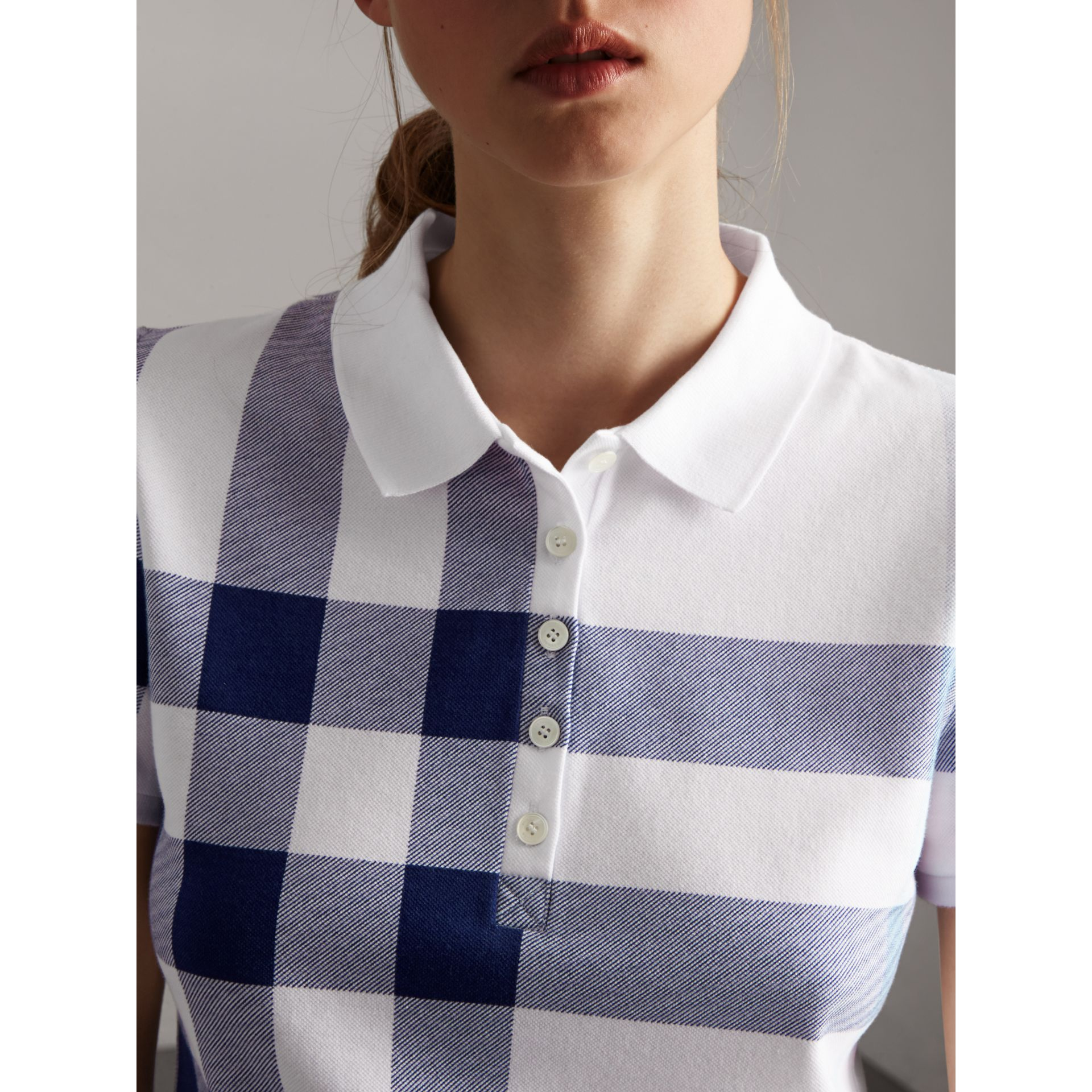 Check Stretch Cotton Piqué Polo Shirt in Pale Blue - Women | Burberry - gallery image 1
