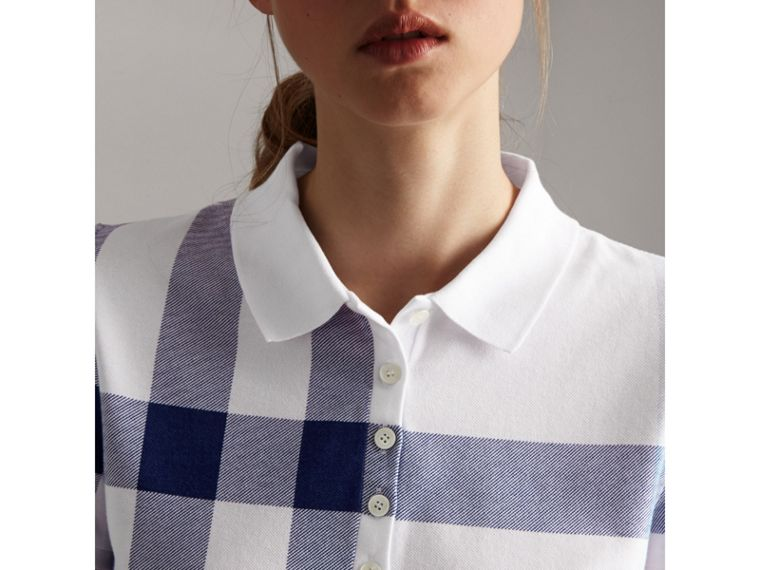 Check Stretch Cotton Piqué Polo Shirt in Pale Blue - Women | Burberry - cell image 1