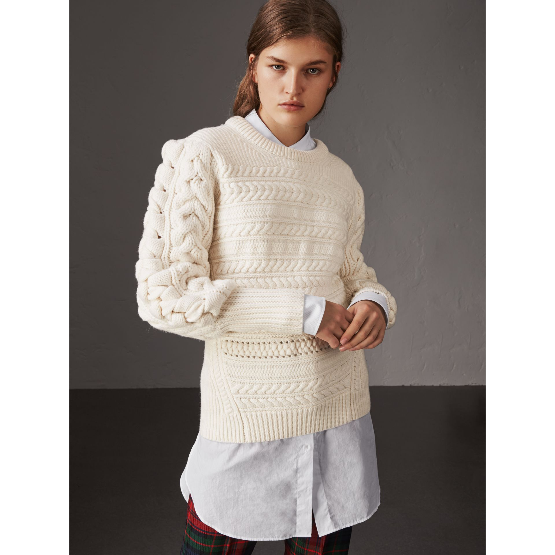 Cable Knit Wool Cashmere Sweater in Natural White - Women | Burberry - gallery image 1
