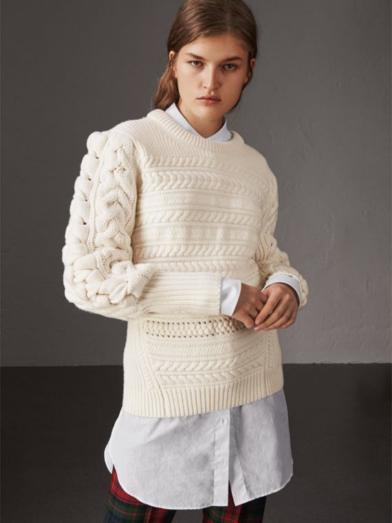 Cable Knit Wool Cashmere Sweater in Natural White