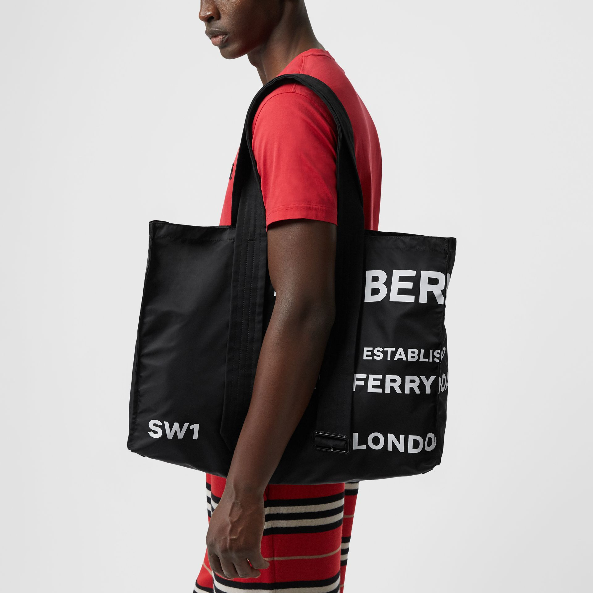 Belt Detail Horseferry Print Nylon Tote in Black/white - Men | Burberry Australia - gallery image 2