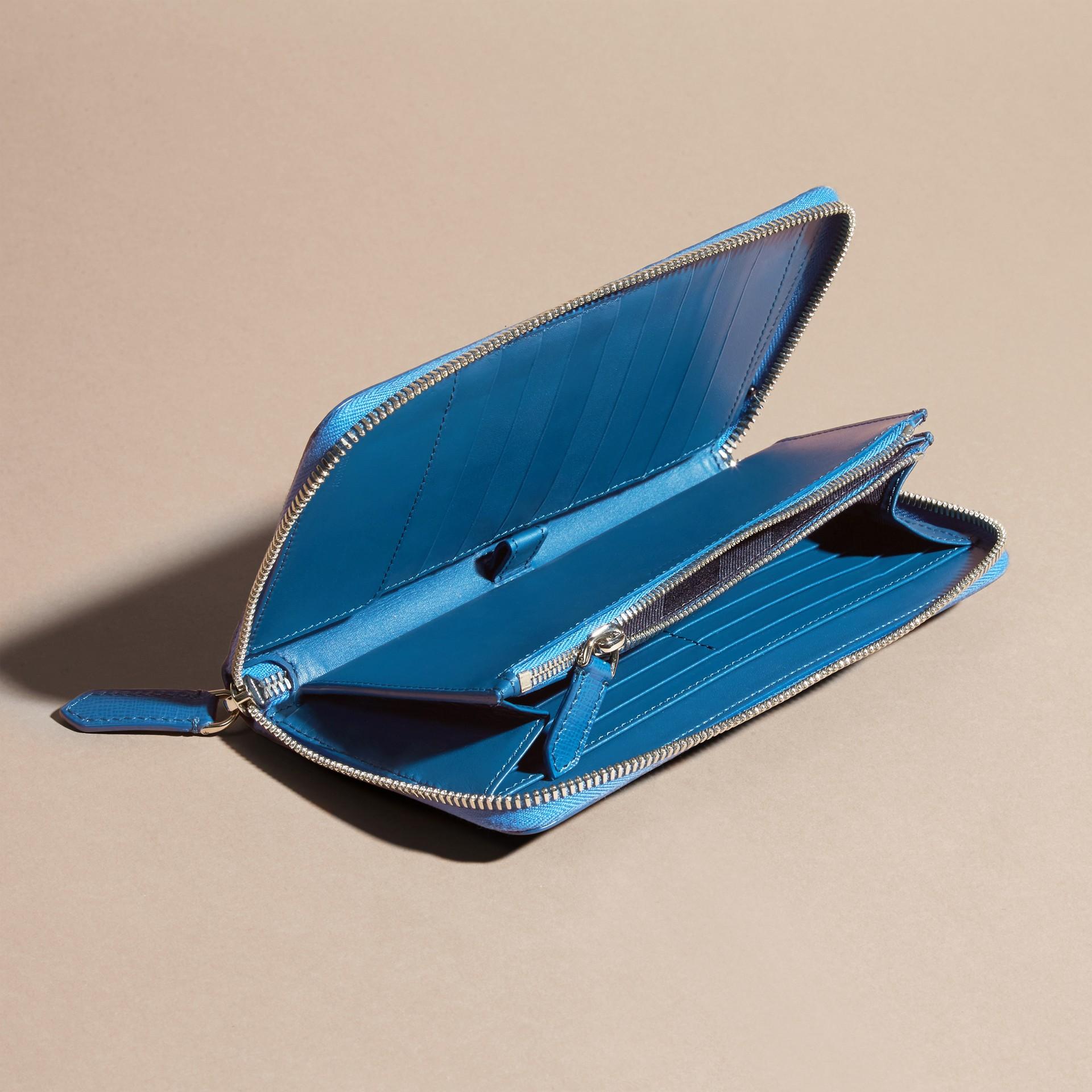 Bleu minéral Portefeuille zippé en cuir London - photo de la galerie 6