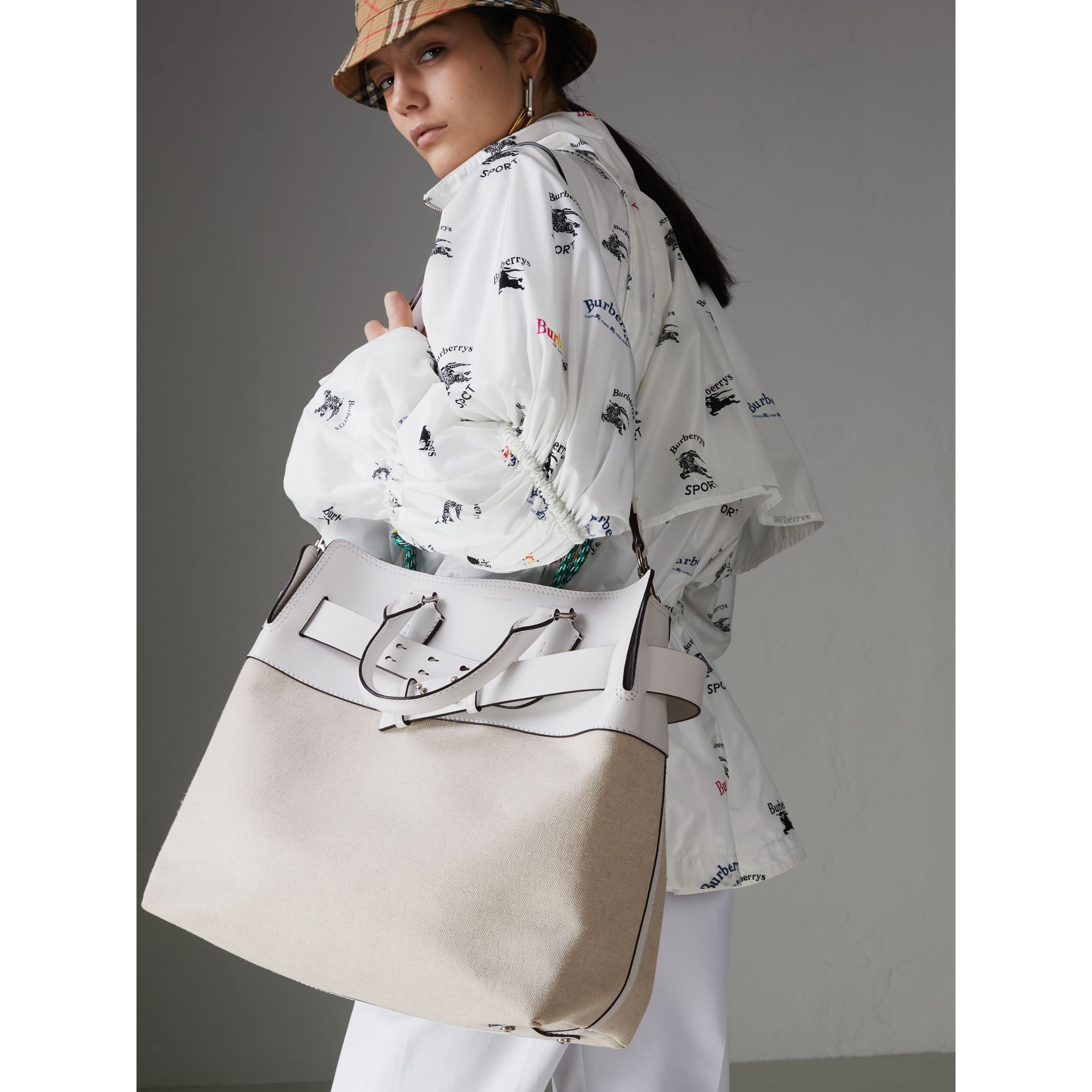 The Large Leather and Canvas Belt Bag in Chalk White | Burberry United States - gallery image 3