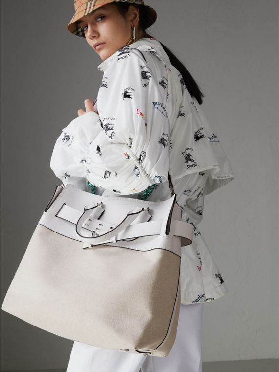The Large Leather and Canvas Belt Bag in Chalk White | Burberry United States - cell image 3