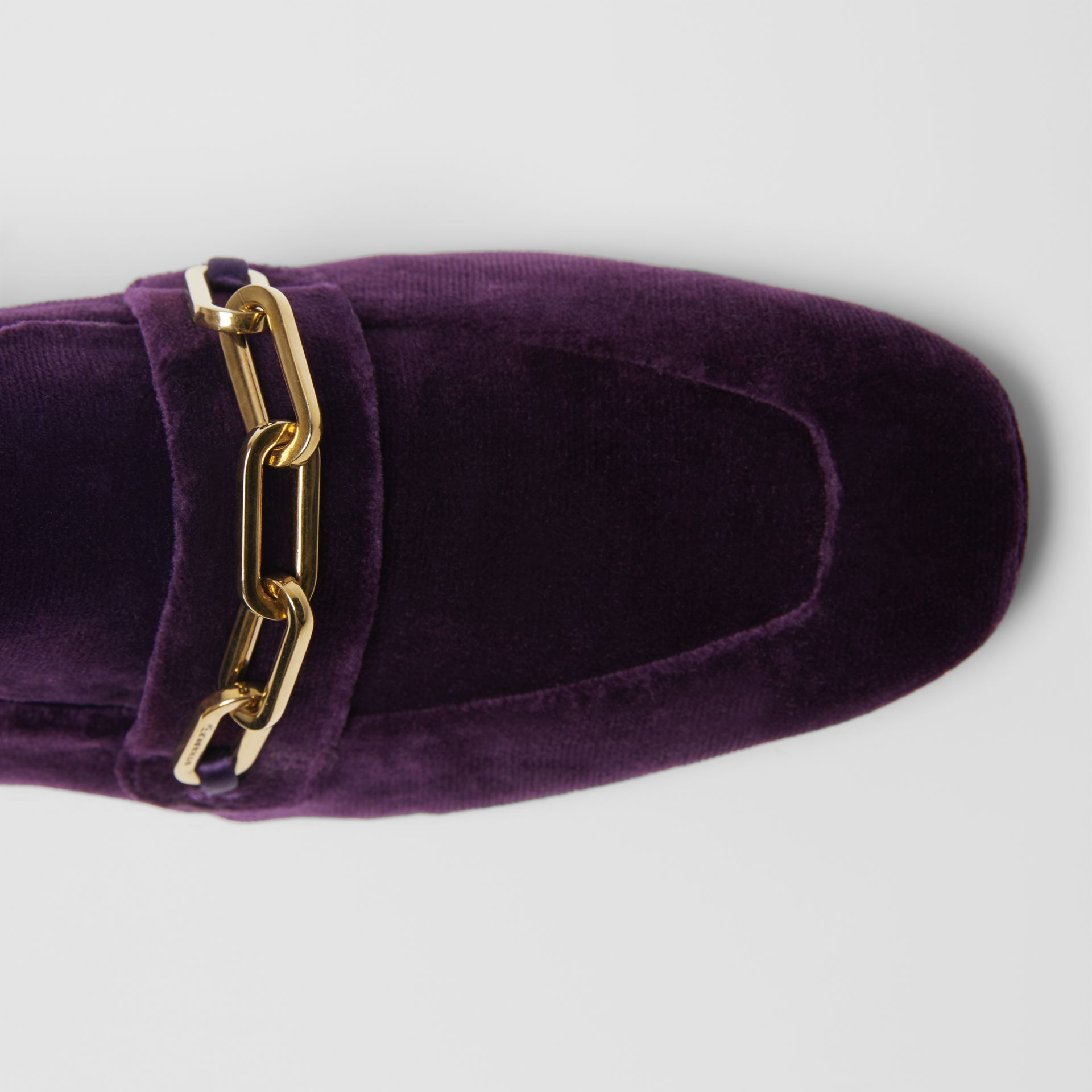 Link Detail Velvet Block-heel Loafers in Dark Elderberry - Women | Burberry Hong Kong - gallery image 1