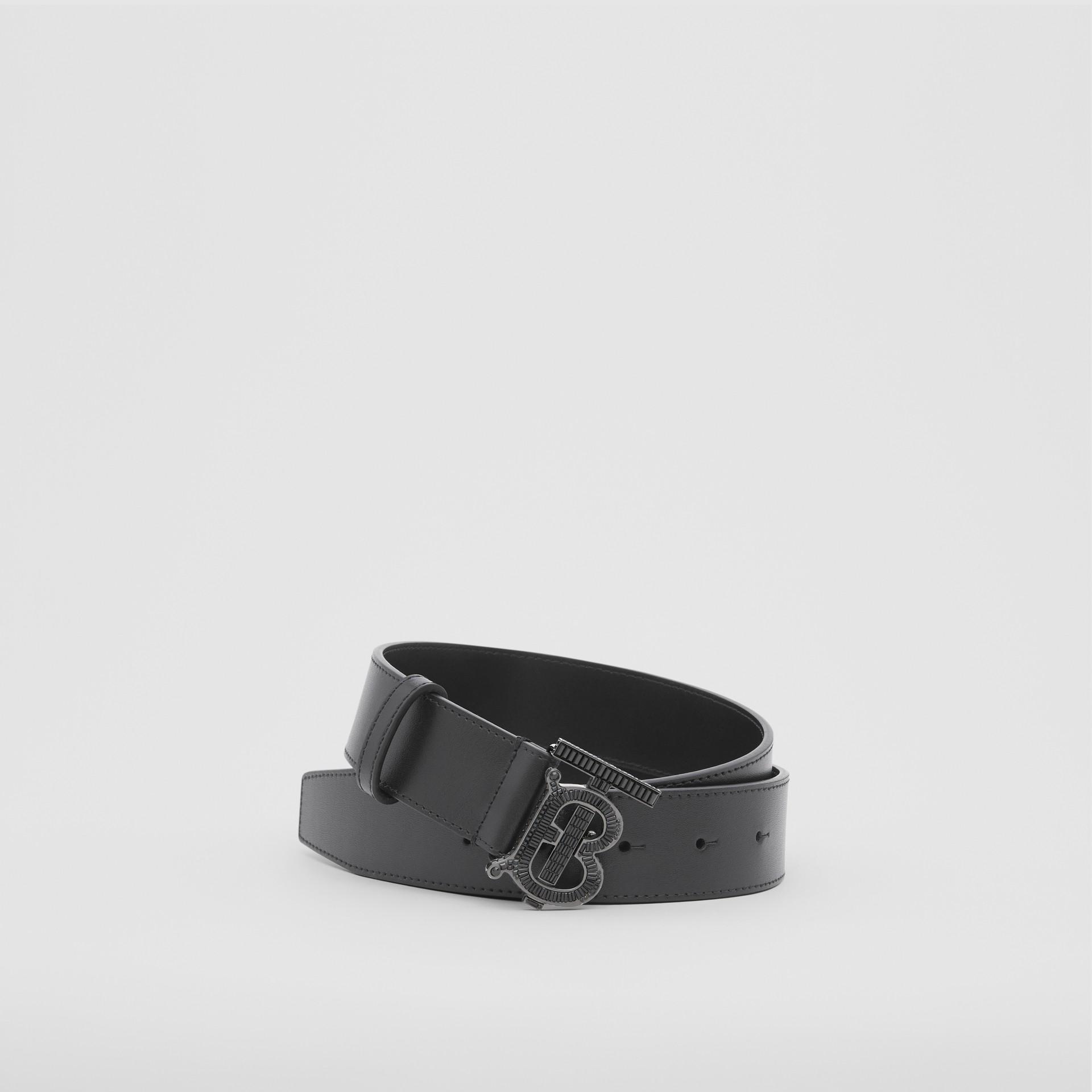 Cinturón en piel con monograma y cristales (Negro) - Hombre | Burberry - imagen de la galería 0