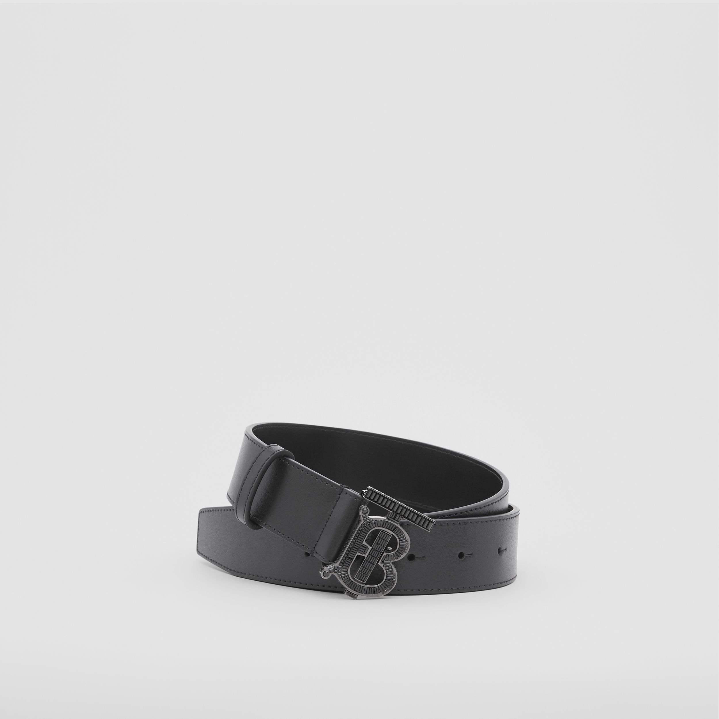 Crystal Monogram Motif Leather Belt in Black - Men | Burberry - 1