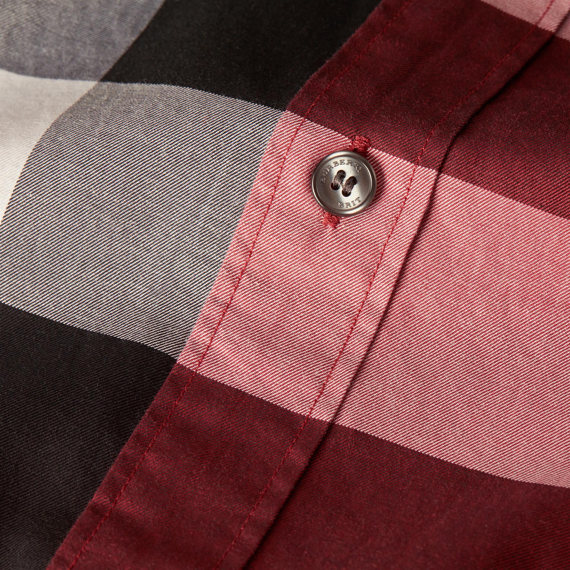 Rojo baya Camisa de manga corta en algodón con estampado de checks Rojo Baya - imagen de la galería 2