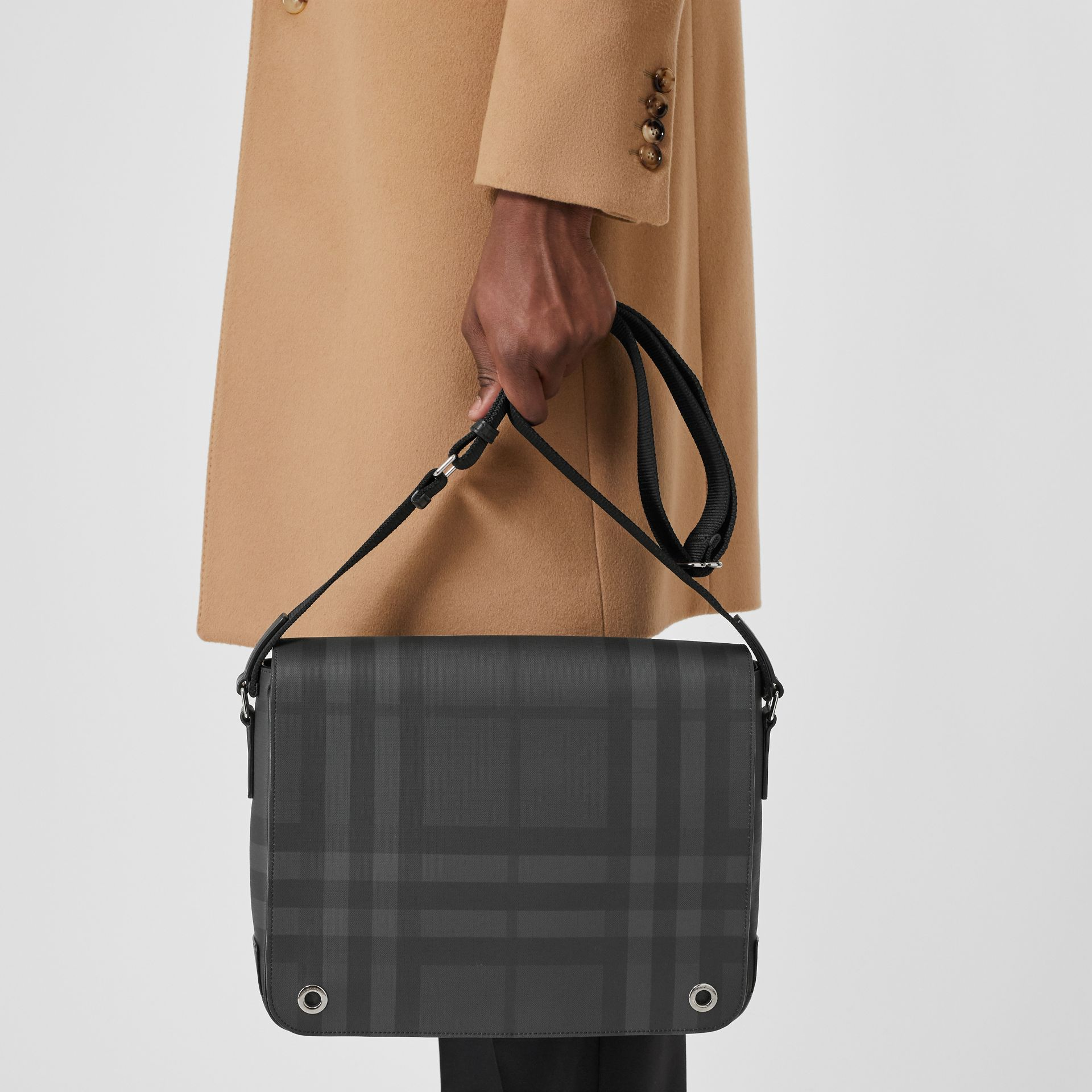 London Check and Leather Satchel in Dark Charcoal - Men | Burberry - gallery image 2