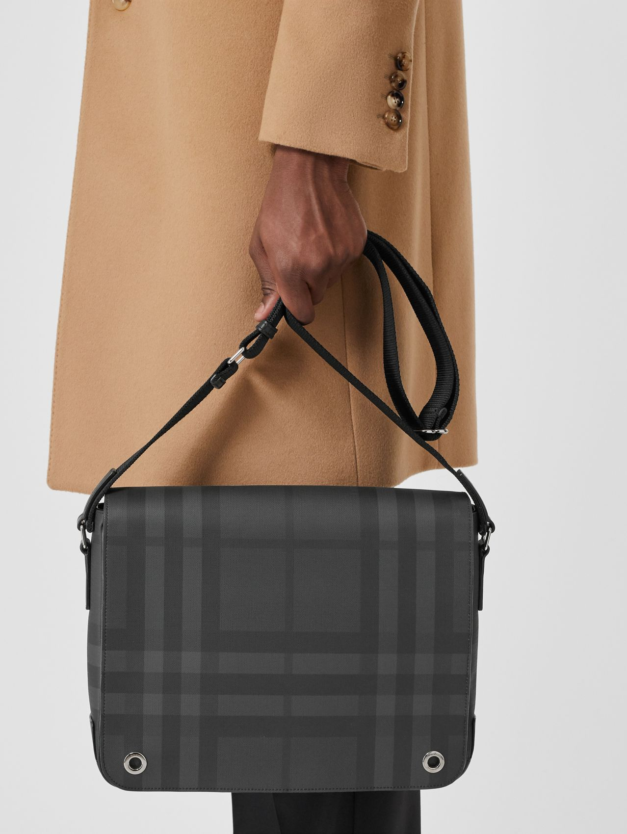 London Check and Leather Satchel in Dark Charcoal