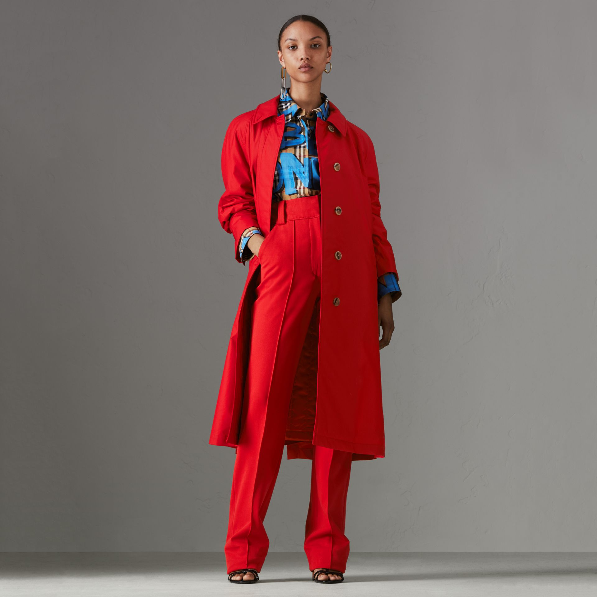 Oversized Cotton Car Coat in Parade Red - Women | Burberry - gallery image 0