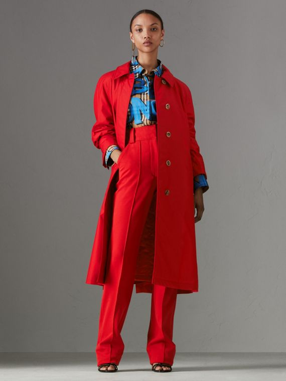 Oversized Cotton Car Coat in Parade Red