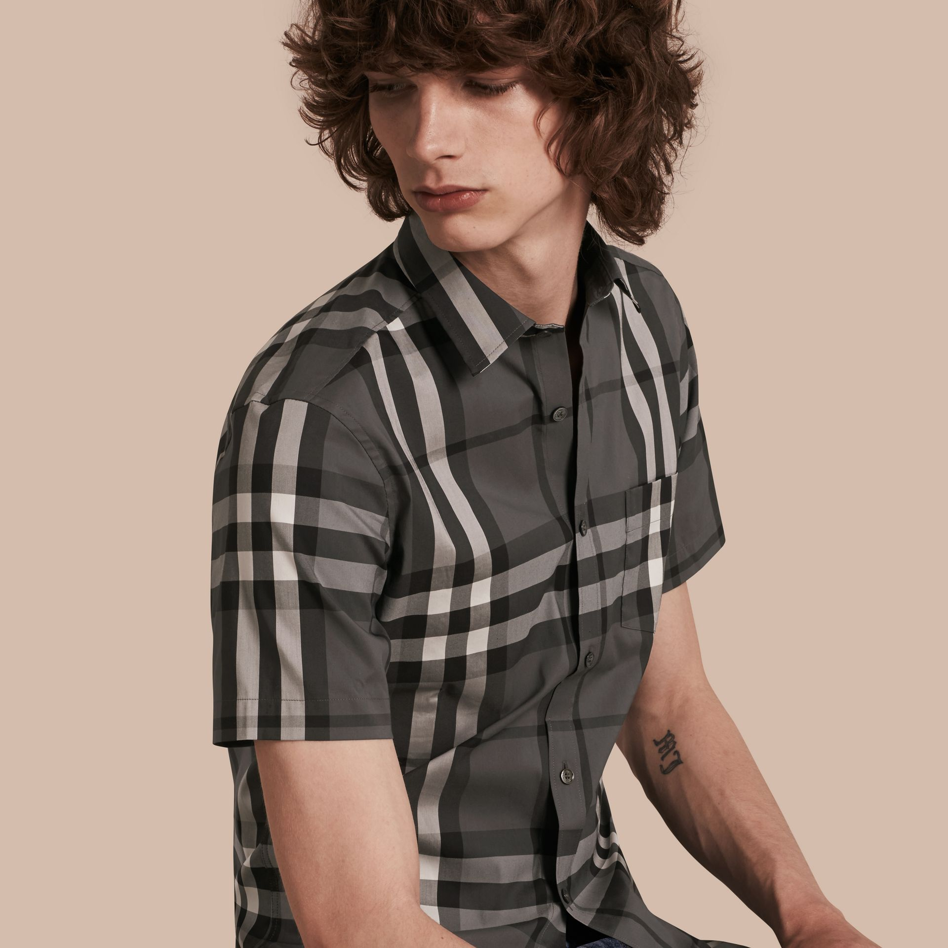 Short-sleeved Check Stretch Cotton Shirt in Charcoal - gallery image 1