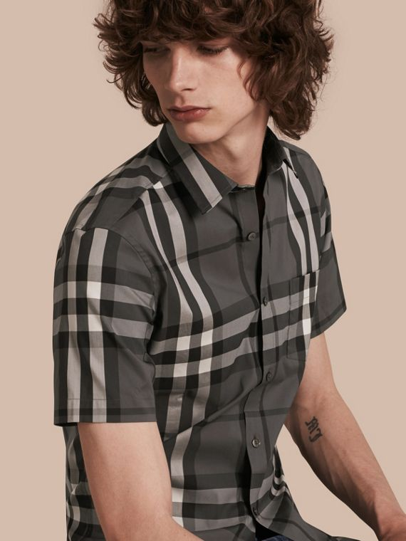 Short-sleeved Check Stretch Cotton Shirt in Charcoal