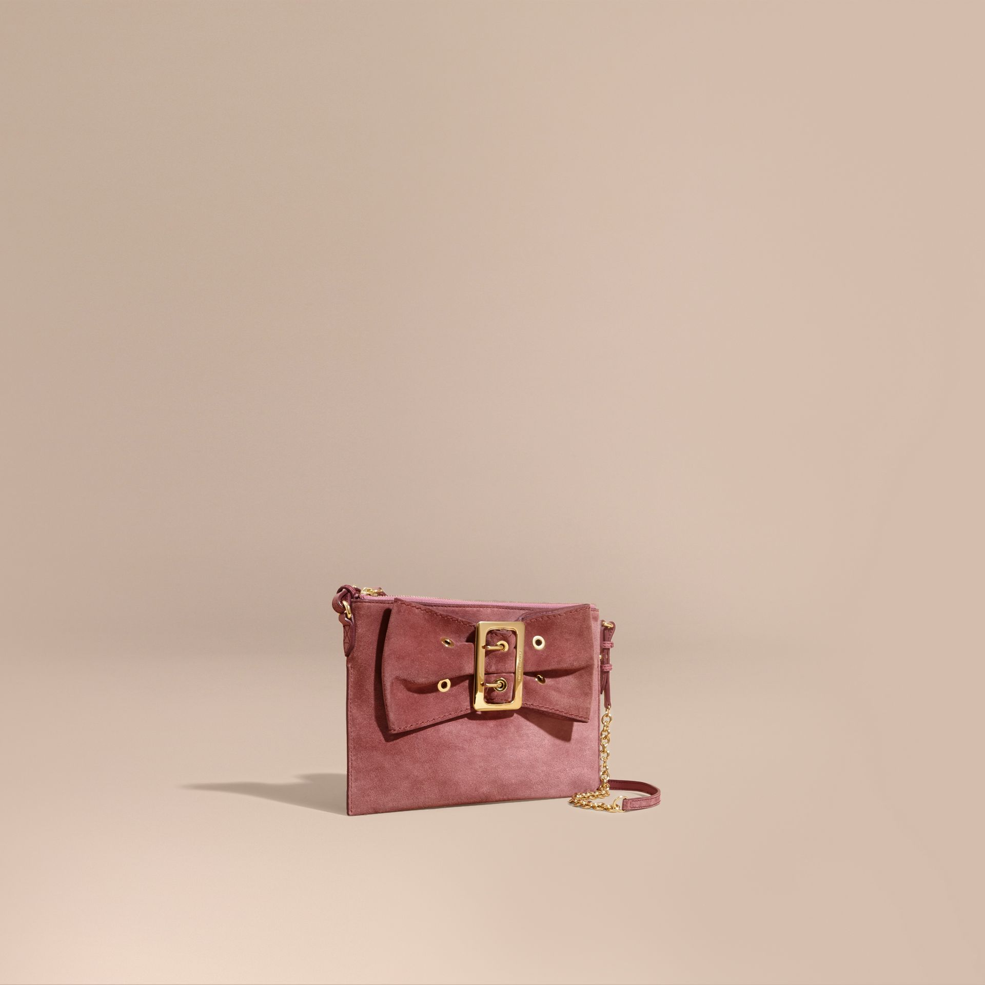 Suede Clutch Bag with Buckled Bow Detail Dusty Pink - gallery image 1
