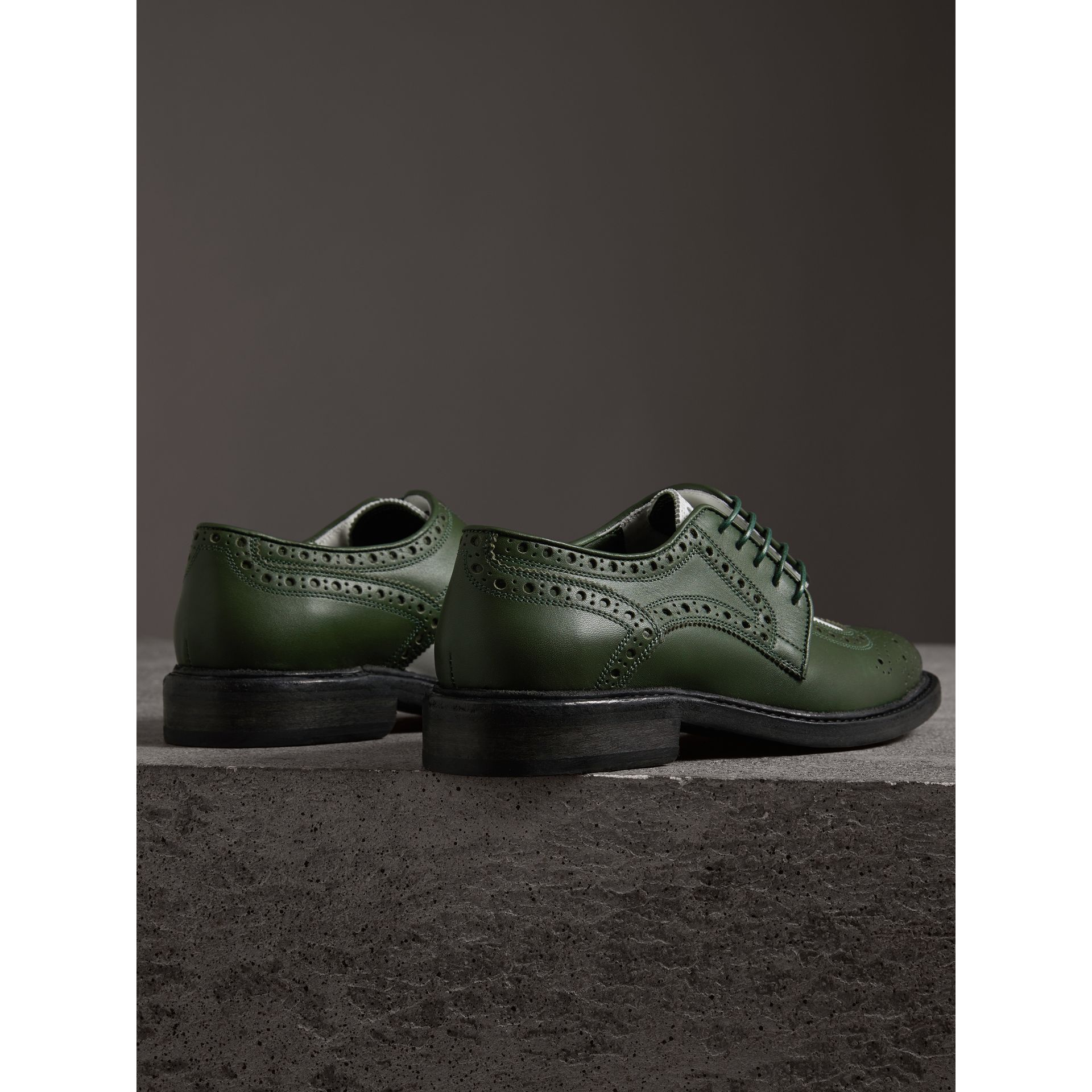 Two-tone Asymmetric Closure Leather Brogues in Dark Green - Women | Burberry United States - gallery image 2