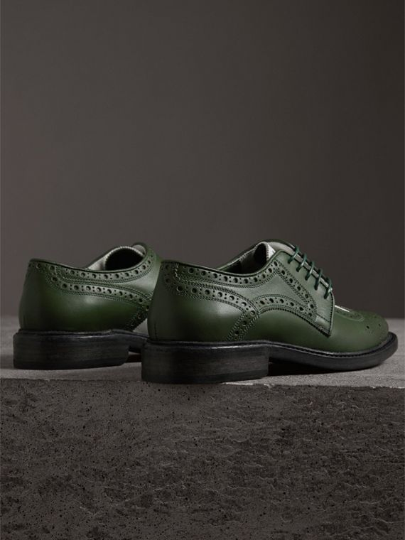 Two-tone Asymmetric Closure Leather Brogues in Dark Green - Women | Burberry Singapore - cell image 2