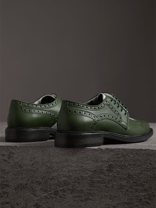 Two-tone Asymmetric Closure Leather Brogues in Dark Green - Women | Burberry - cell image 3