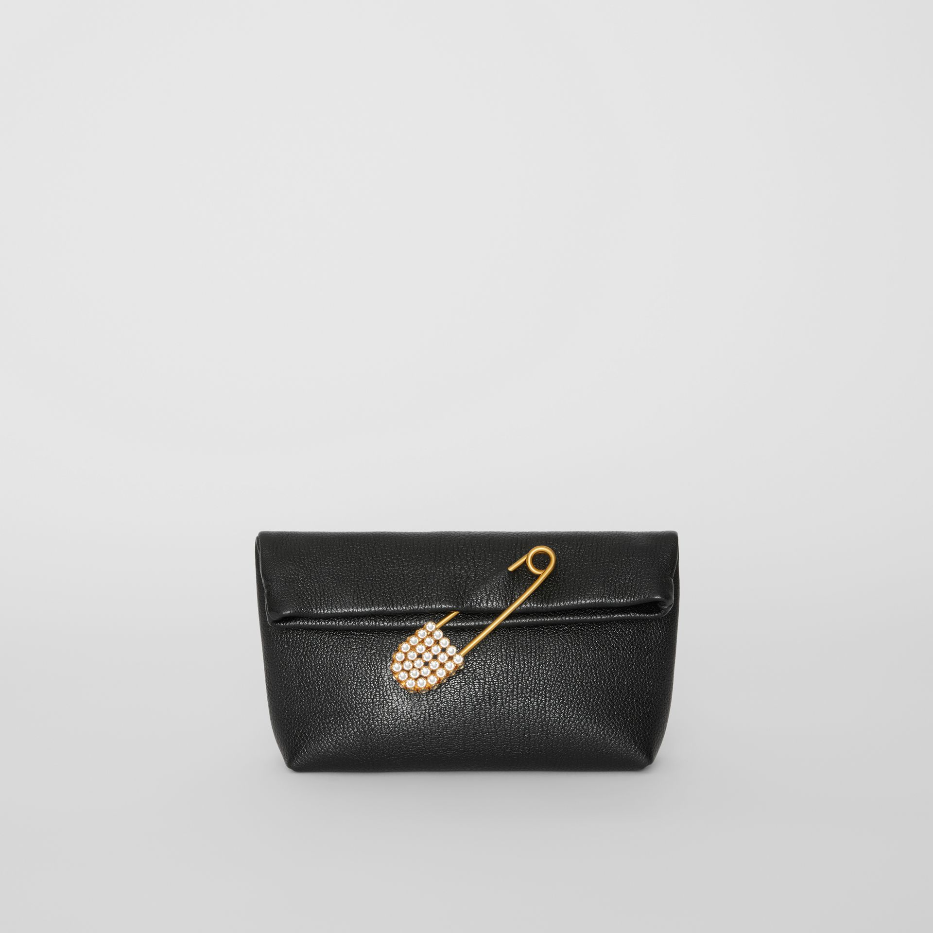The Small Pin Clutch in Leather in Black - Women | Burberry - gallery image 0