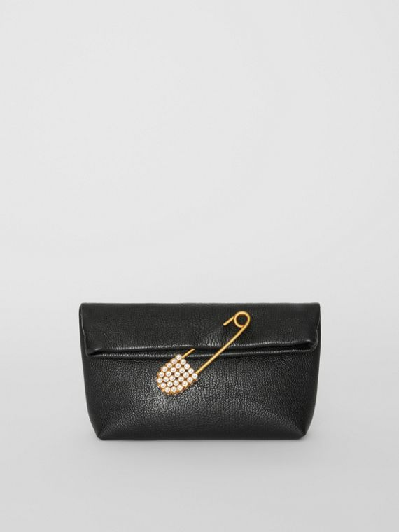 The Small Pin Clutch in Leather in Black