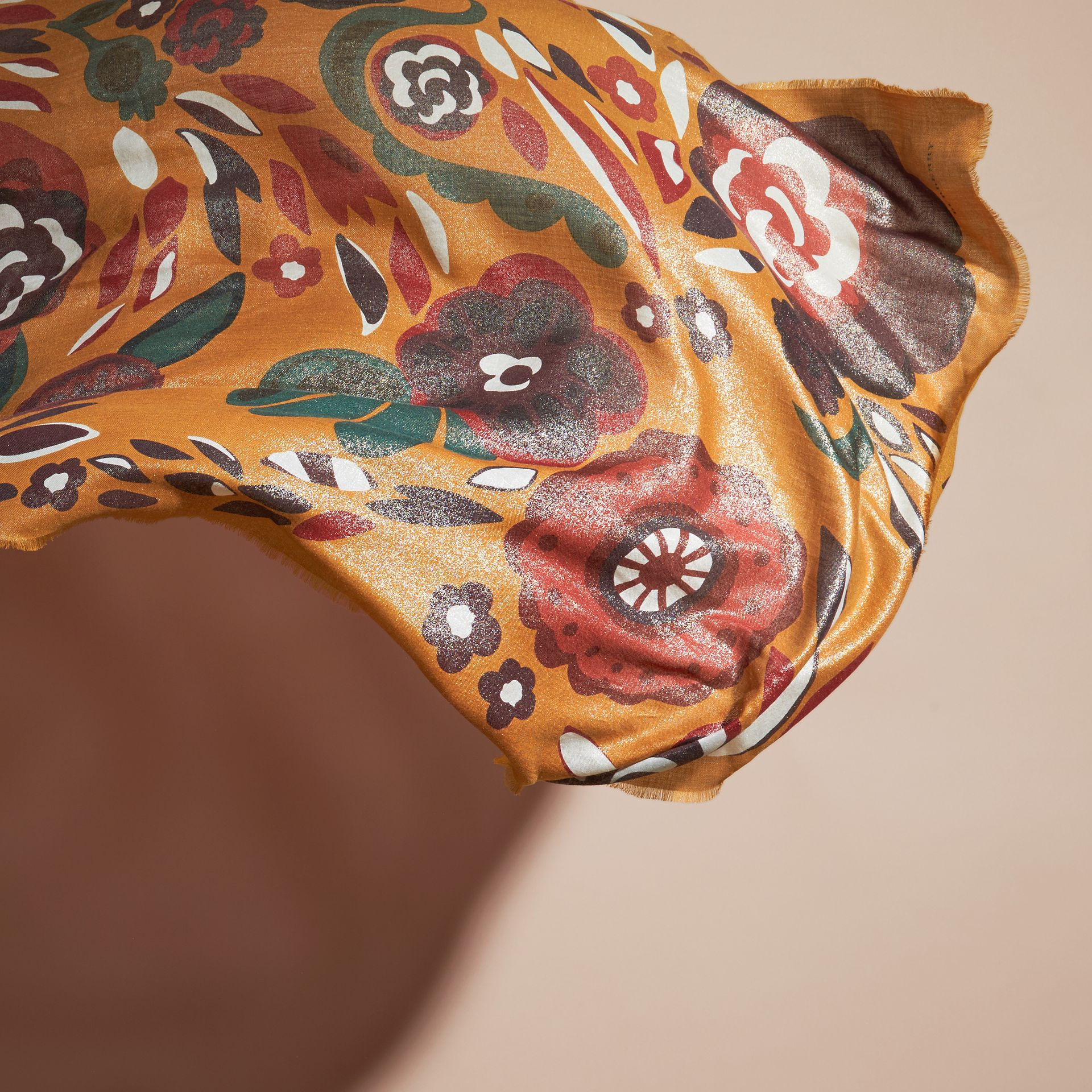 Burnt orange Floral Metallic Cashmere Scarf Burnt Orange - gallery image 4