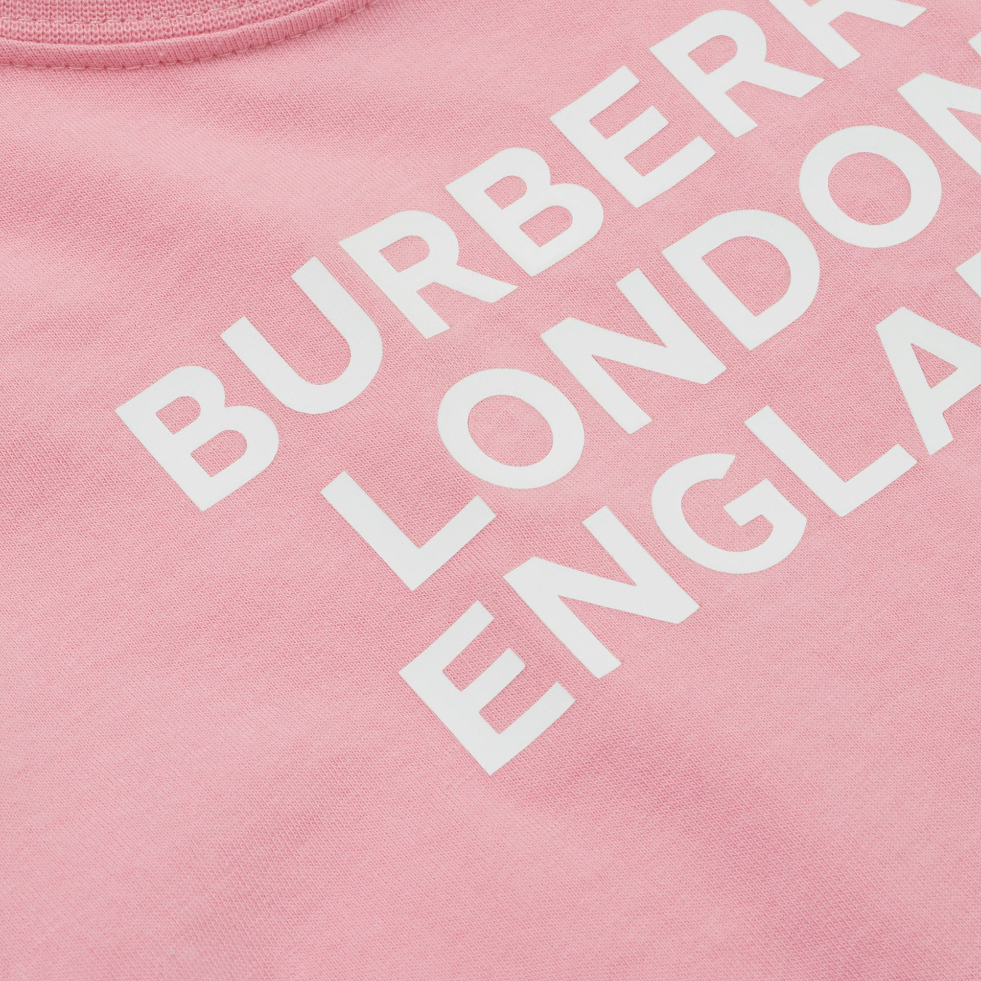 Logo Print Cotton T-shirt in Candy Pink - Children | Burberry - gallery image 1