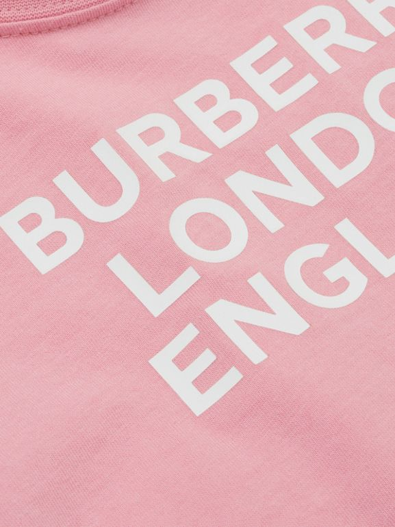 Logo Print Cotton T-shirt in Candy Pink - Children | Burberry - cell image 1