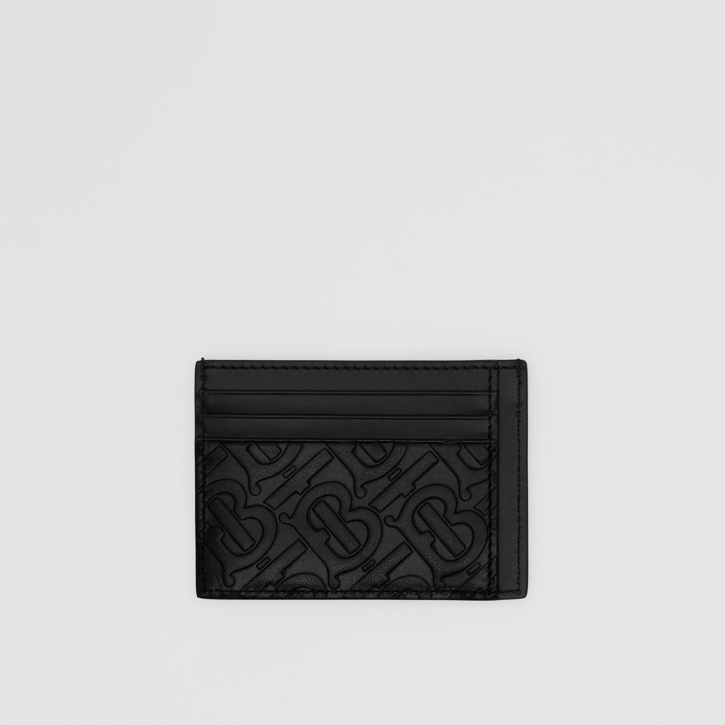 Monogram Leather Card Case in Black - Men | Burberry - 1
