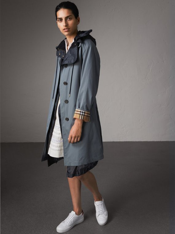 The Camden – Long Car Coat in Dusty Blue