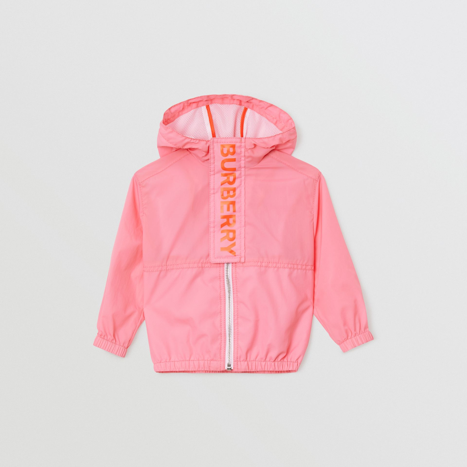 Logo Print Lightweight Hooded Jacket in Bright Rose - Children | Burberry Hong Kong - gallery image 0