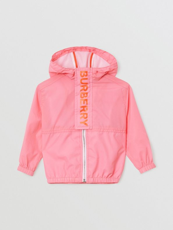 Logo Print Lightweight Hooded Jacket in Bright Rose