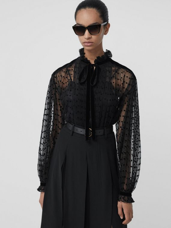 Polka-dot Flock Tulle Tie-neck Blouse in Black